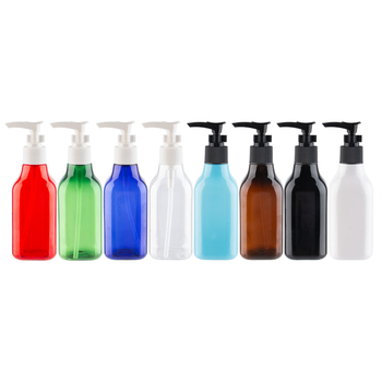 200ml Empty Square Shampoo Pump Dispensing Cosmetic Plastic Bottle PET Container Liquid Soap Bottles  Cosmetics Package  6.8 OZ