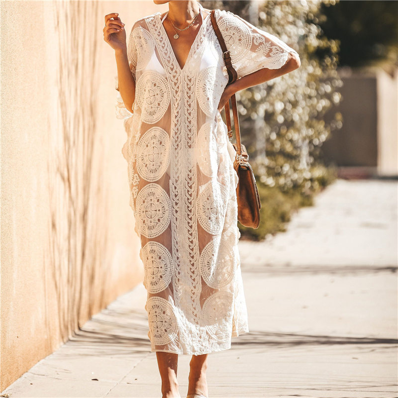 Image 2 - 2020 Sexy See Through Deep V Neck Loose Summer Beach Dress Chiffon Tunic Women Plus Size Beachwear Sarongs Plage Long Dress N880Dresses   -