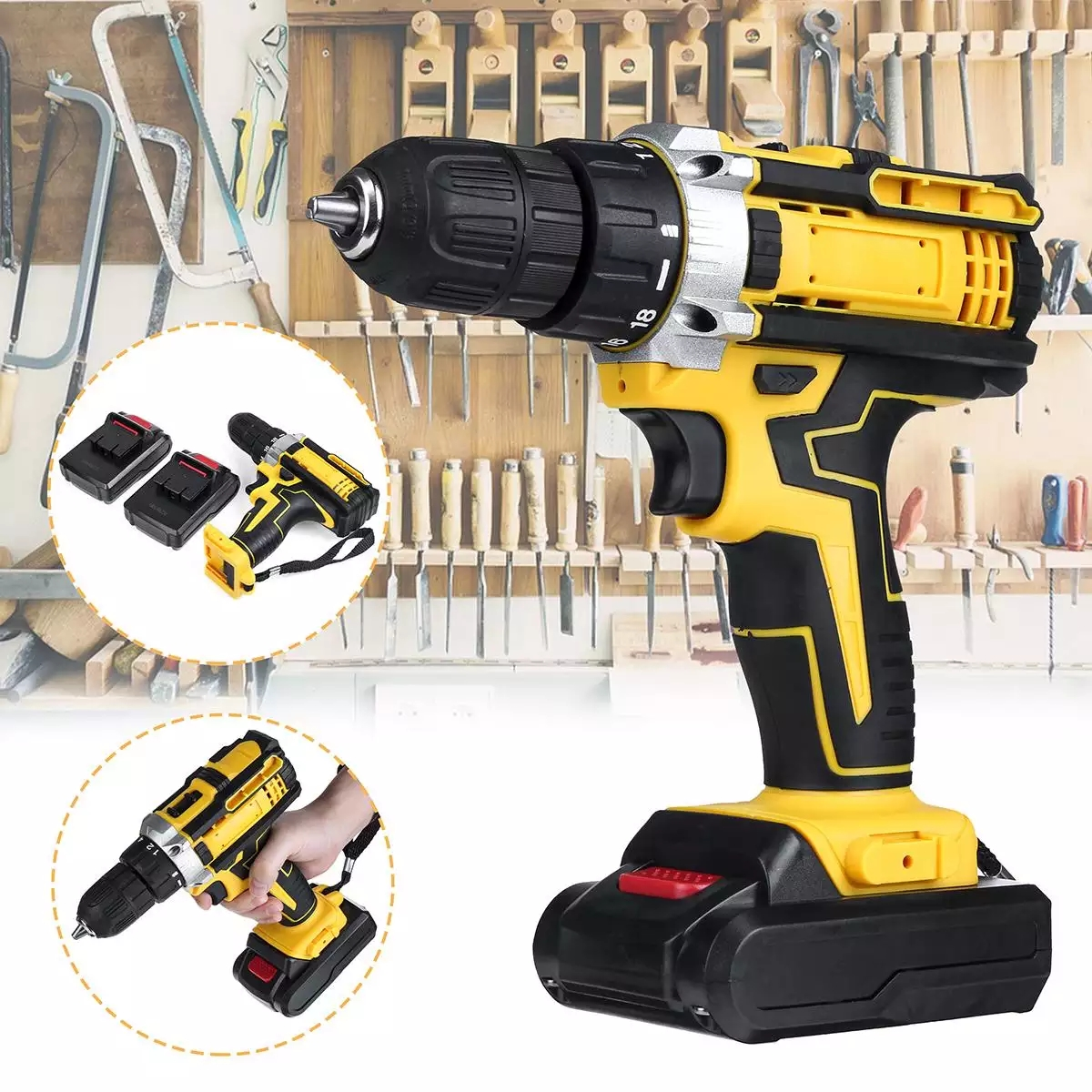 48V Variable 18-Speed Adjustment Impact Cordless Electric Drill Screw Screwdriver Machine Tool Hammer Drill 2 Lithium Battery