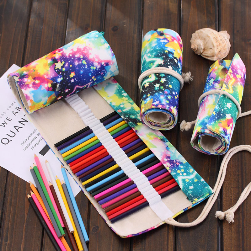 New 36/48/72 Holes Simple Pencil Bag Wrap Roll Up Pencil Case Student Canvas Color Lead Stationery Storage Bag Supplies Gift