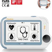 Портативный монитор жизненных знаков 24 часа ЭКГ/ЭКГ Холтер монитор сна для апноэ сна приложение ПК отчет, FDA Viatom Checkme Pro Doctor
