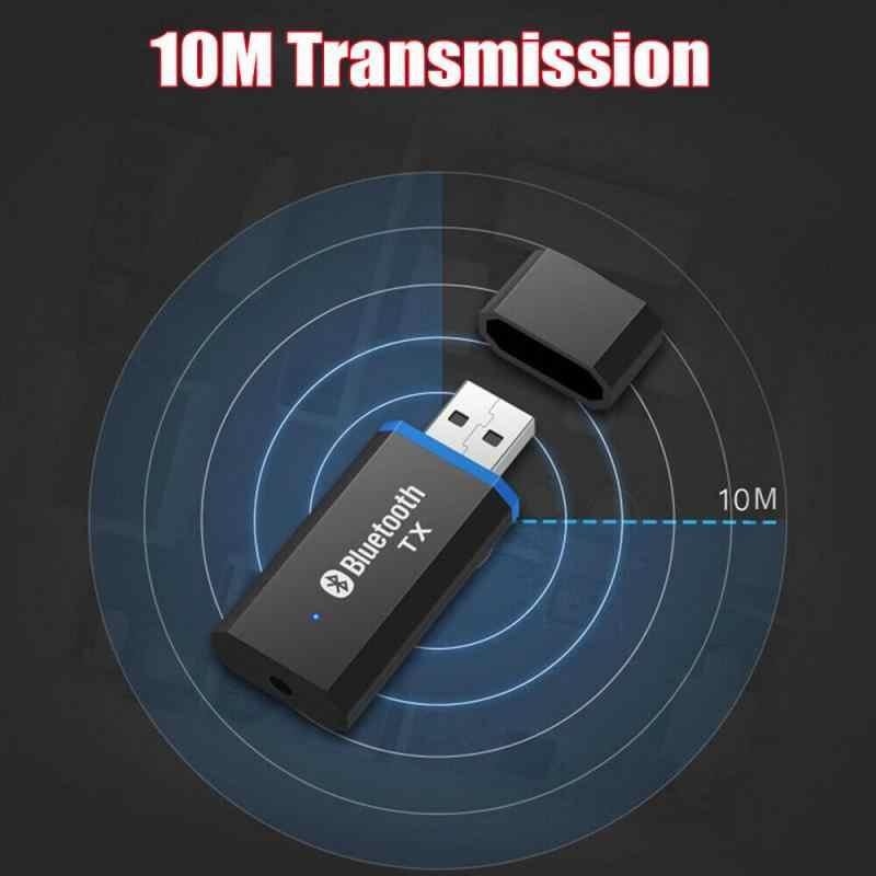 USB Bluetooth 5.0 Audio Transmitter Receiver Adaptor 3.5Mm untuk TV PC Mobil AUX Stereo AUX 3.5Mm Jack untuk headphone Speaker