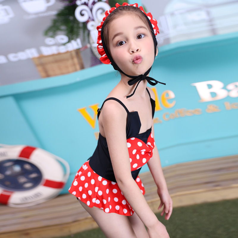 2019 Hot Sales New Style Red Dot Large Bow Bikini Short Skirt Girls One-piece Ventilated And Swimming Cap Swimming Suit