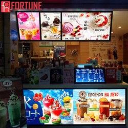 Expédié localement en espagne cadre de Poster à Led publicitaire pour Restaurants Menu panneau de verre trempé illuminer les boîtes à lumière de pancarte LED