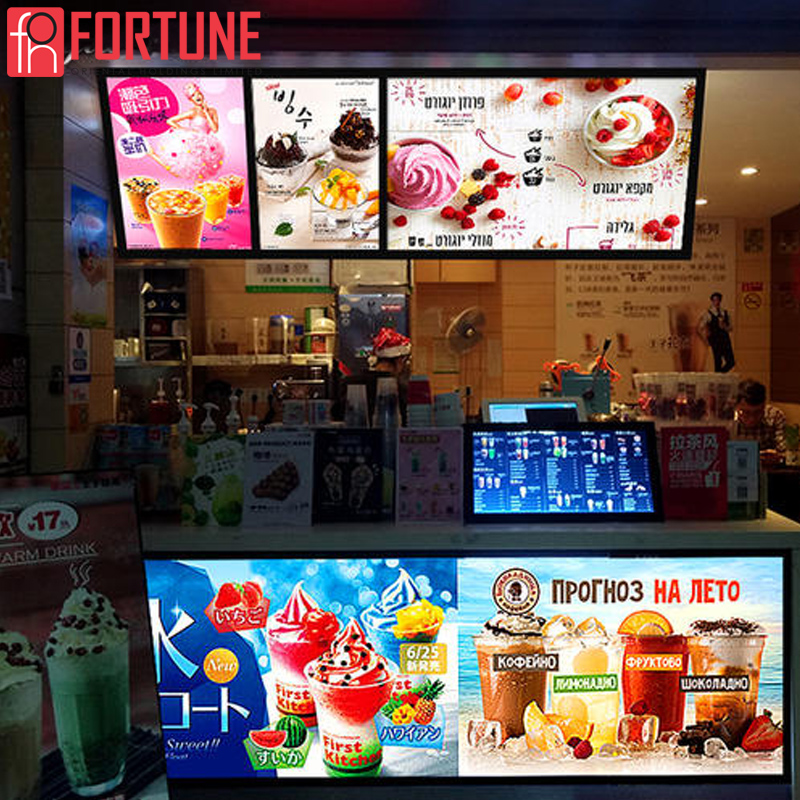 Shipped Locally In Spain Advertising Led Poster Frame For Restaurants Menu Tempered Glass Board Illuminate LED Sign Light Boxes