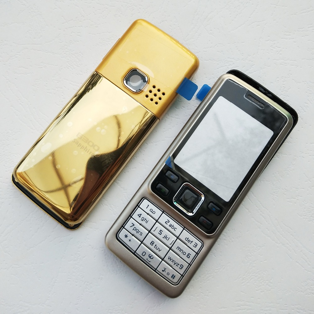 ZUGZUC New Metal Full Housing For Nokia 6300 Full Complete Mobile Phone Housing Cover Case+English / Russian Keypad