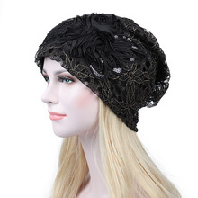 Womens Hats Knitted Head hat lady autumn and winter lace thin summer breathable flowers women