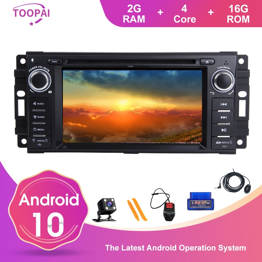 TOOPAI Android 10 For Dodge Ram Challenger Jeep Wrangler JK Auto Radio Stereo GPS Navigation Car Multimedia Player DVD Media