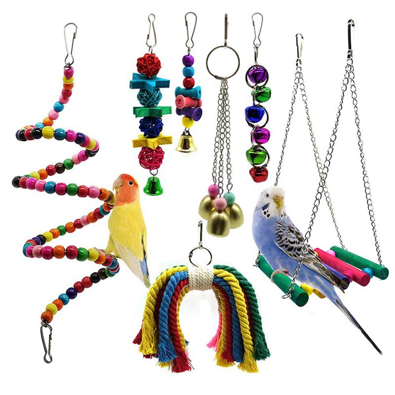 Bird Parrot Toys, 7 Packs Bird Swing Chewing Hanging Perches With Bells For Pet Parrot Lovebird Howl Budgie Cockatiels Macaws Fi