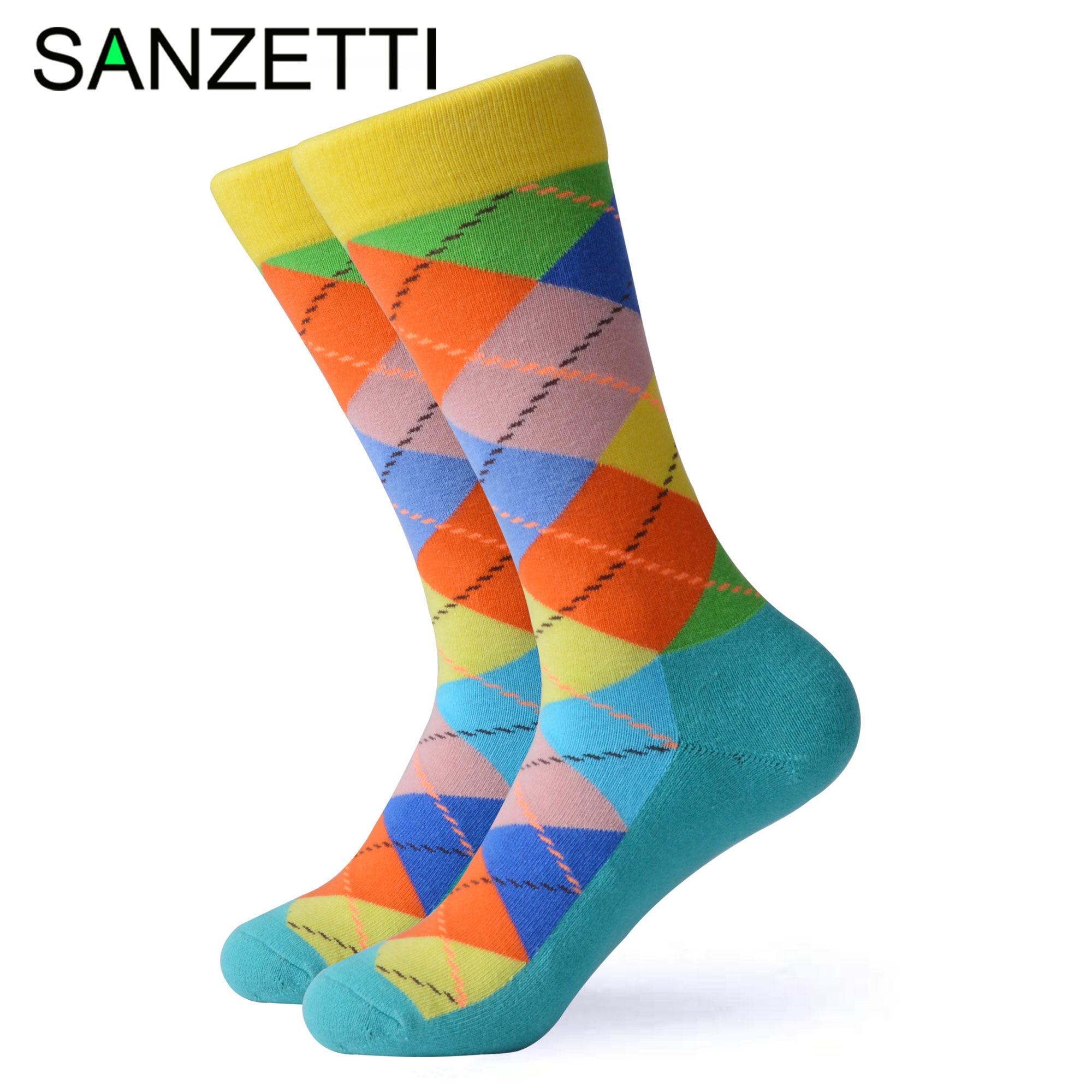 SANZETTI 1 Pair Happy Socks High Quality Men's Colorful Comfortable Combed Cotton Terry Socks Novelty Gift Wedding Dress Socks