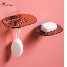 OYOURLIFE Creative Wall Mounted Soap Holder With Hooks Bathroom Non-slip Drain Soap Tray