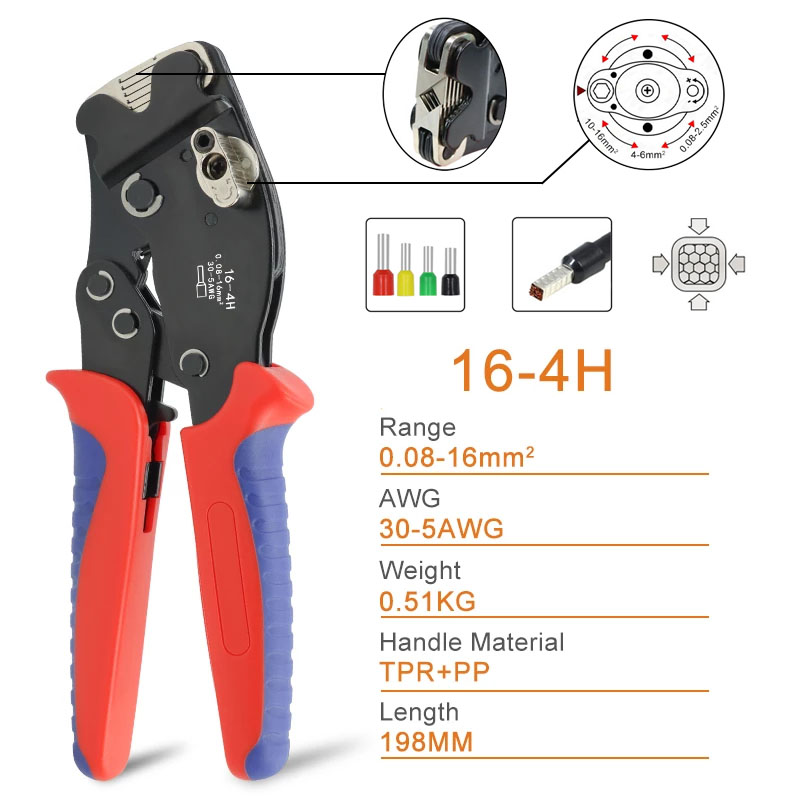 0.08-16mm2 16-4H Tubular Terminal Crimping Tools Mini Pliers Adjust Knob To Control Crimping Size Terminals Electrical Clamps