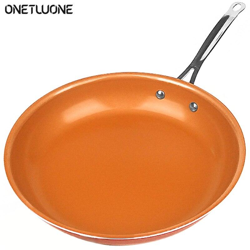 Антипригарная медная сковорода для жарки с керамическим покрытием, сковороды для яиц, говядины, индукционная плита, духовка, кухонная посуд...