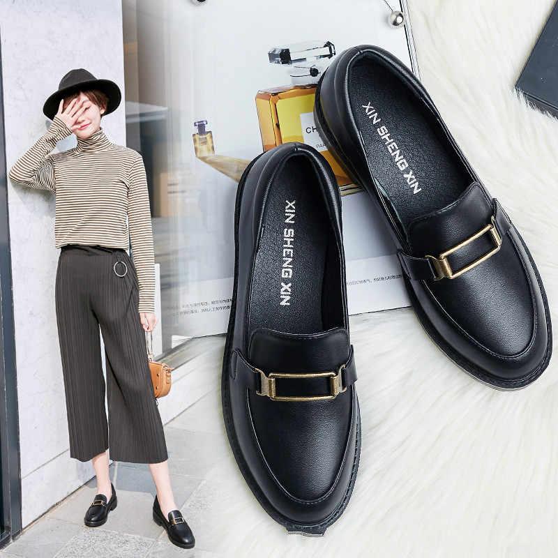 2019 yeni kadın düz ayakkabı yuvarlak ayak dantel-up Oxford ayakkabı kadın hakiki deri Brogue bayan Platform ayakkabılar kadın loafer'lar