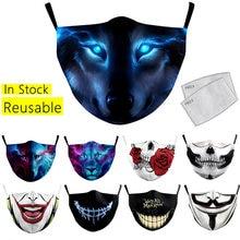 Adulto máscaras engraçado 3d impresso máscara protetora respirável máscara facial lavável reutilizável máscaras de tecido à prova de poeira máscara de boca capa