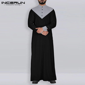 Image 2 - INCERUN Arabic Islamic Kaftan Muslim Men Stand Collar Patchwork Retro Jubba Thobe Long Sleeve Men Indian Clothes Robe S 5XL 2020