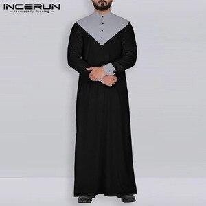 Image 2 - INCERUN 아랍어 이슬람 Kaftan 이슬람 남자 스탠드 칼라 패치 워크 레트로 주바 Thobe 긴 소매 남자 인도 옷 가운 S 5XL 2020