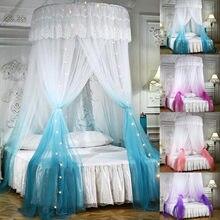 Cama dossel duplo cores pendurado mosquito net princesa cama tenda cortina dobrável dossel na cama elegante rendas fadas dossel