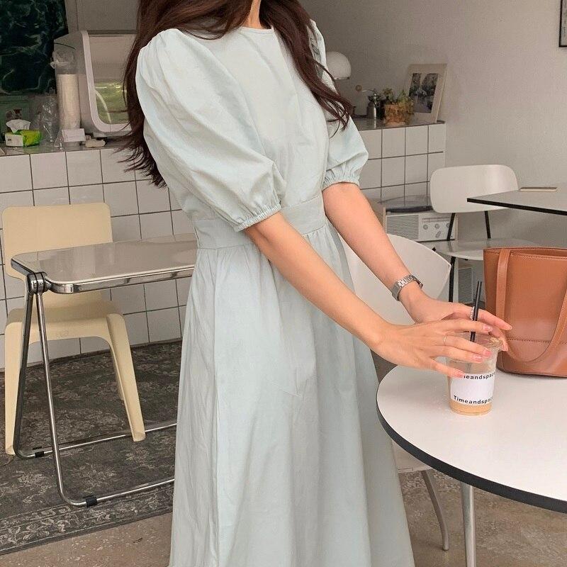 H79843143227e47499ac729fec640b2fdf - Summer O-Neck Short Sleeves Elastic-Waist Calf Length Solid Dress
