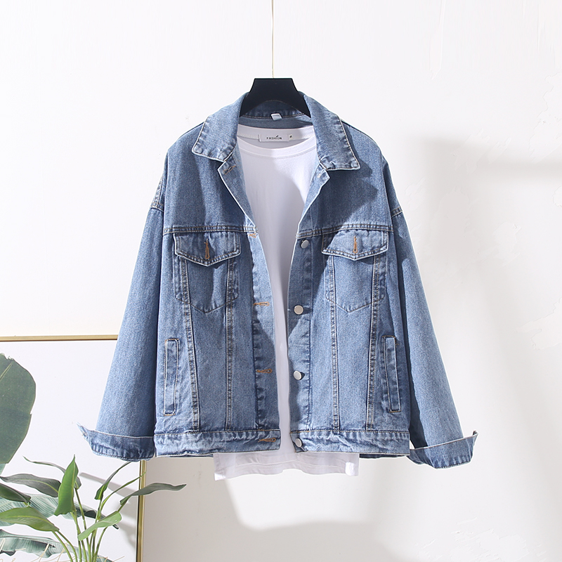 2020 Spring Autumn Embroidery Denim Jacket Women Boyfriend Casual Black Loose Jeans Coat
