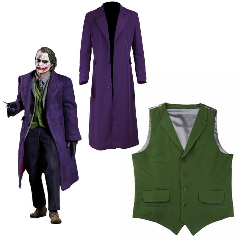 Batman Joker Costume Cosplay Man The Dark Knight Only Coat Shirt Pants Halloween Cosplay Purple Jacket Movie Hero Accessories