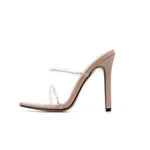 Image 4 - Kcenid 2020 새로운 패션 pvc 크리스탈 검투사 여성 슬리퍼 하이힐 라인 석 스트랩 여성 신발 섹시한 나이트 클럽 파티 신발