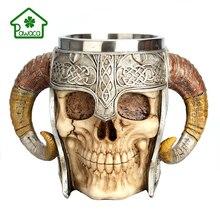 3D 304 Stainless Steel Skull Mug Viking Warrior Sheep Horn Mugs Coffee Beer Cup Halloween Bar Drinkware Party Trick