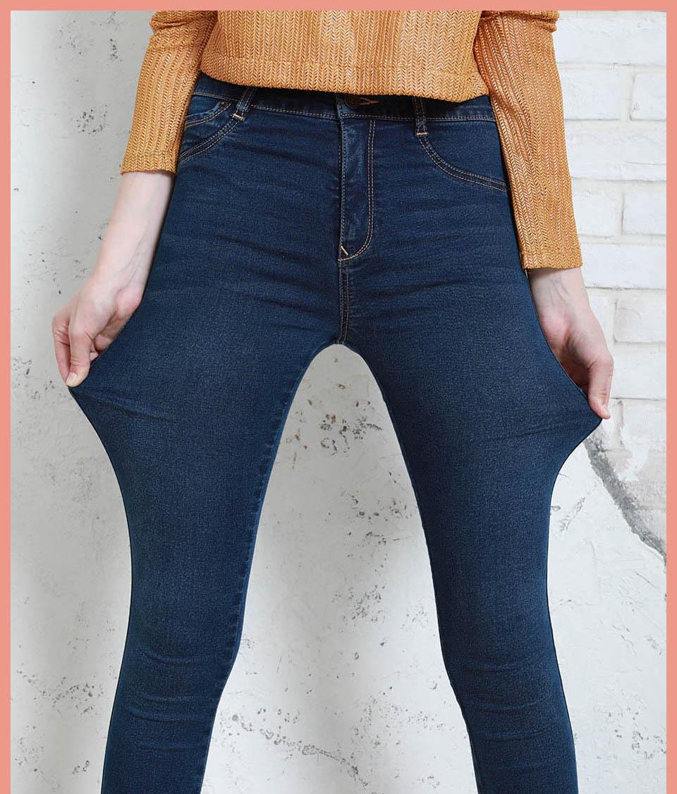Autumn Winter Women Denim Skinny Pants Super Stretch Fake Front Pocket Waist Blue Grey Black White Slim Elastic Lady Jeans 11