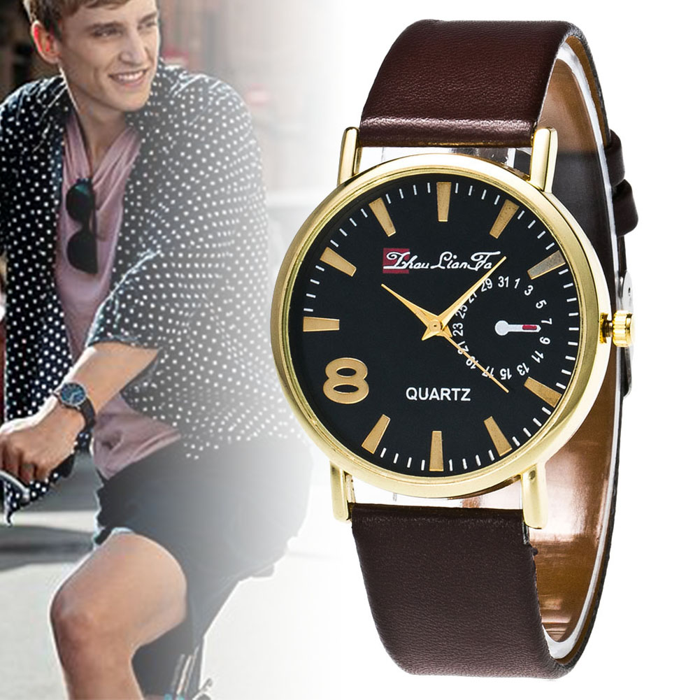 Round Dial Leather Strap Quartz Watches Students Couple Casual Watches Daily Wearing Working LL@17