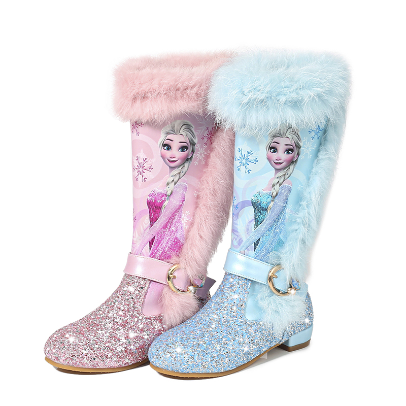 Kids Shoes Children Fashion Cartoon Princess Boots Quality Leather Sequin High-Knee Boots Girls Genuine Wool Warming Winte Boots