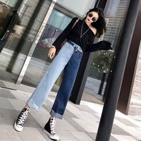 Women High Waist Pockets Loose Retro Fake Two Pieces Patchwork Denim Trousers Button Korean Style Ankle Length Jeans