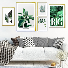 Nordic Decoration Geometric Green Leaf Wall Art Canvas Painting Minimalist Plant Poster print Picture for Living Room Home Decor
