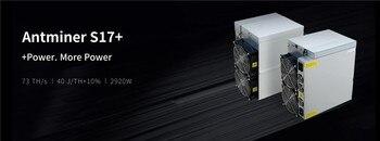 BITMAIN Asic BTC BCH Miner AntMiner S17+ 73TH/S With PSU Better Than S9 T9+ S15 S17 S17E S17 Pro T17 WhatsMiner M3 M21S M20S 1