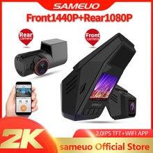 Sameoo wideorejestrator samochodowy usb kamera do androida potrójna kamera na deskę rozdzielczą dual hd 1080p przedni i tylny wideorejestrator wifi 1080P 24H Monitor do parkowania