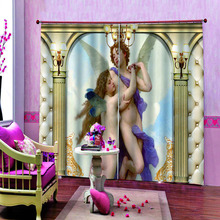 Europe 3D Curtain Luxury Blackout Window Living Room angel curtains