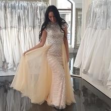 Luksusowe Dubai suknie wieczorowe wyszywane koralikami długie 2019 najnowsza konstrukcja szampana Sexy O Neck bez rękawów kobiety wieczorowe syrenka sukienki na przyjęcie