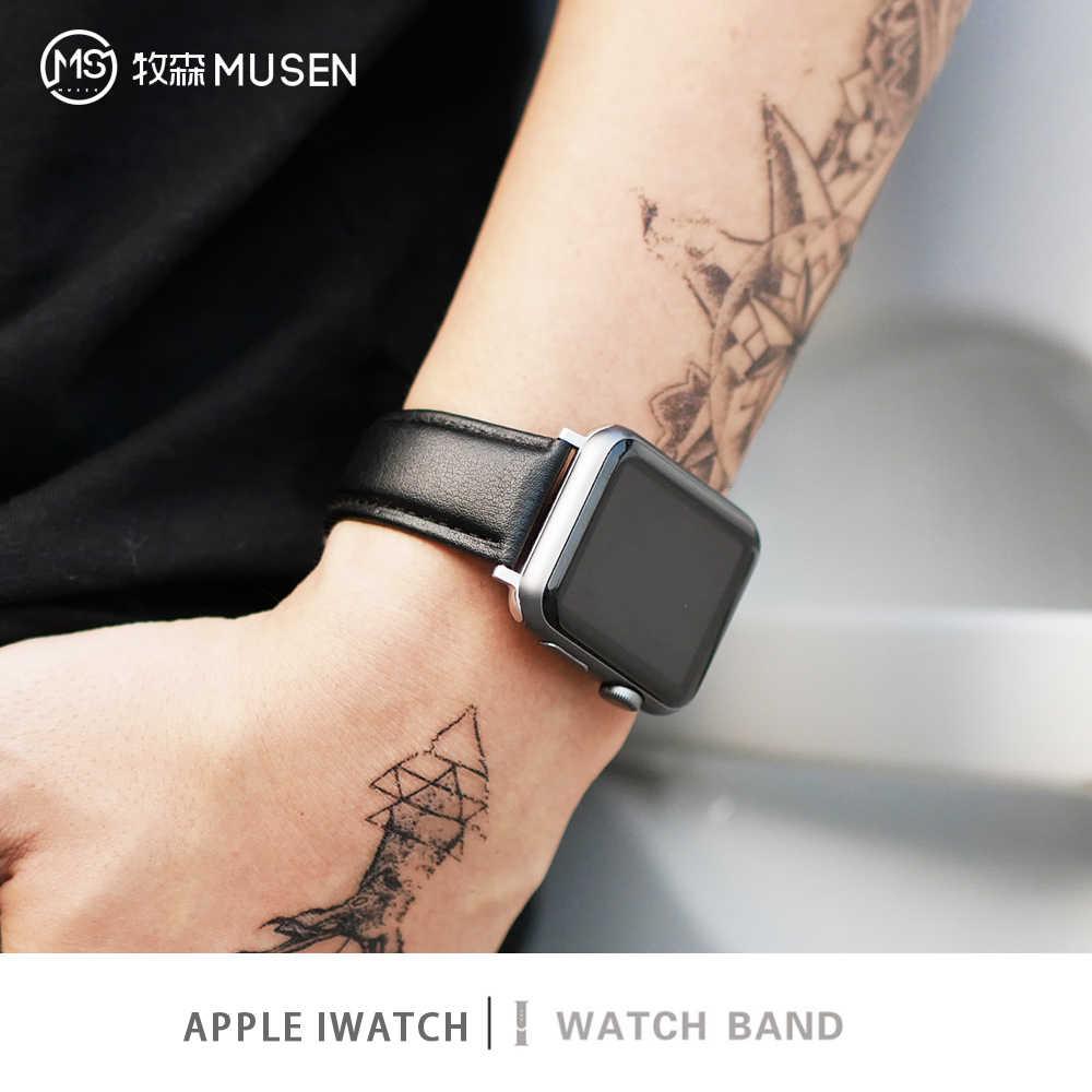 สีน้ำตาลหนังสายคล้องคอสำหรับ Apple 4 3 2 1 38 มม.40 มม., ผู้ชายหนังนาฬิกาสำหรับ iWatch 5 44 มม.42 มม.