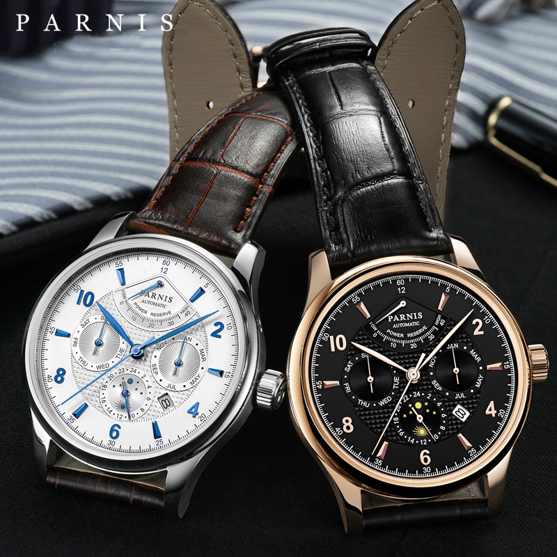 Parnis 42mm Silver Case Mechanical Automatic Men Watch Moon Phase Power Reserve Men's Watches saat erkekler montre luxe 2019 Man Mechanical Watches     - title=