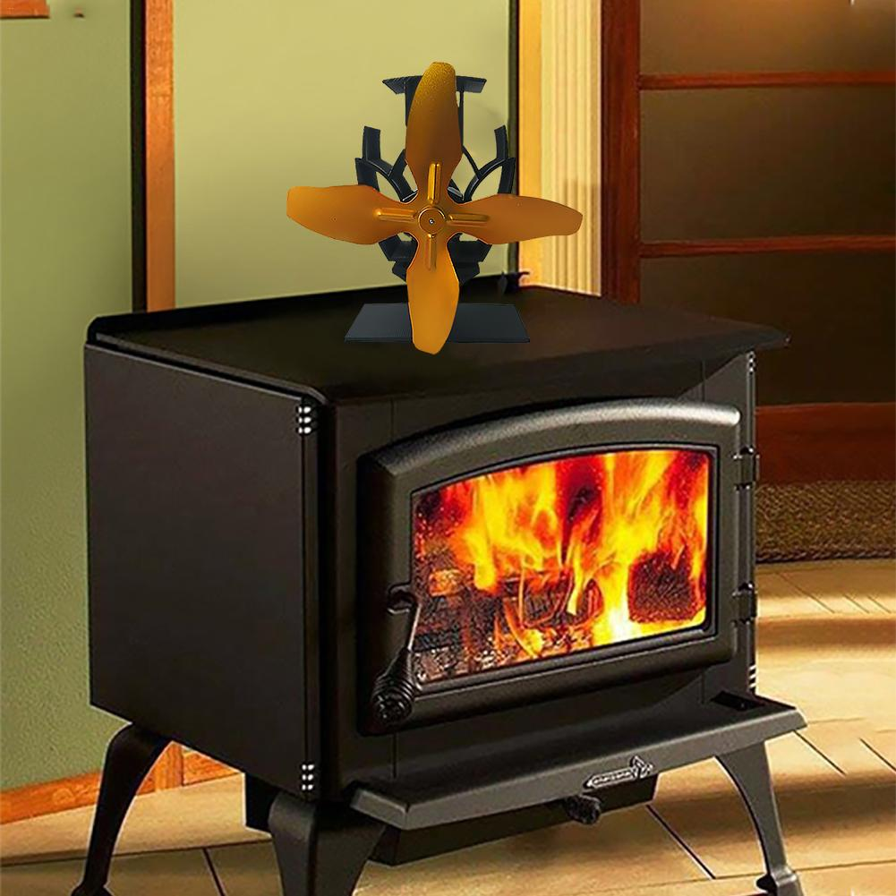 Mini Multi-color 4 Blades Stove Fan Heat Powered Komin Wood Burner Eco Fan Silent Home Efficient Heat Distribution Fireplace Fan