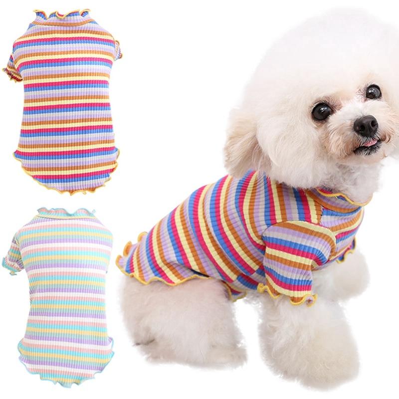 Pet Spring Summer Sweater T-shirt Thin Cats Soft Stripes Fashion Kittens Bottom Shirt Cotton Pajamas Cute Kitten Puppy Clothing