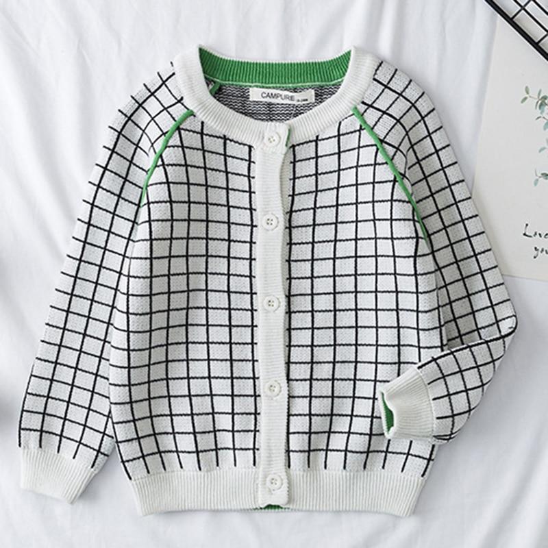 2021 New Baby Boys Girls Cardigan Autumn Lattice Sweater Top Baby Children Clothing Baby Boys Girls Knitted Cardigan Sweater 3