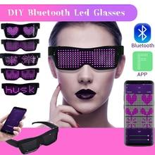 Magic Bluetooth  LED Glasses App Control DIY Multi-lingual Flash Luminous Party USB Charge Concert Sunglasses