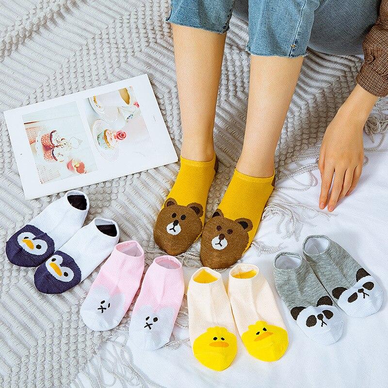 5pairs=10pieces Cartoon Women Socks Cotton Invisible Socks Cute Animal Stereo Ear Girl Ankle Socks Harajuku Breathable Sock