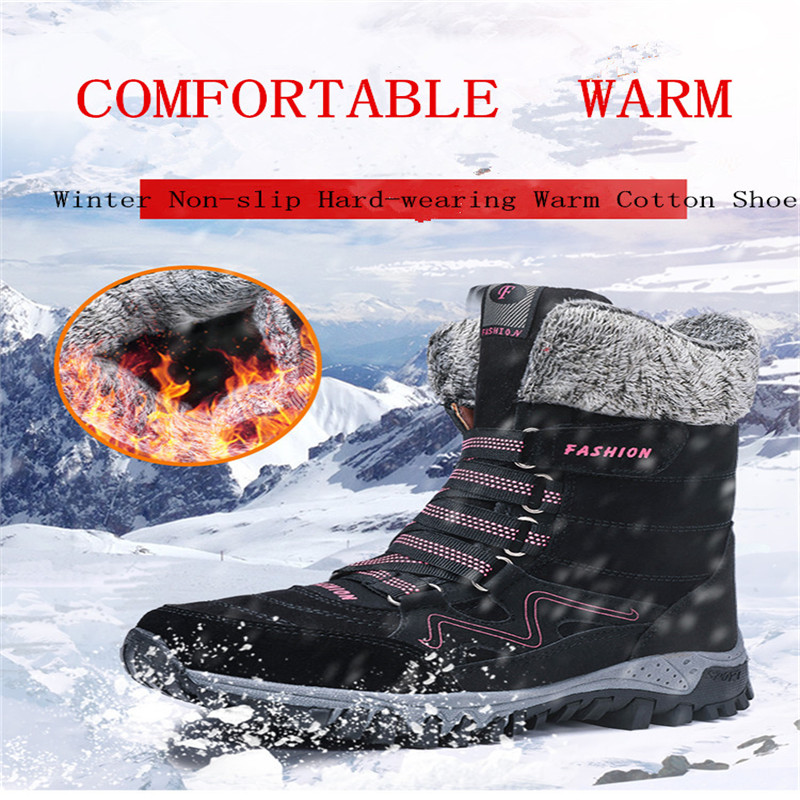 Suede Leather Women Snow Boots Winter Warm Plush Krasovki Ankle Women's boots High Top Waterproof Ankle Wedge Boots Flat Shoes-in Women's Flats from Shoes