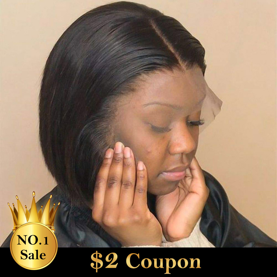 Wigs Short Bob-Wig Human-Hair Lace-Front 180-250-Density Straight Black Women Brazilian