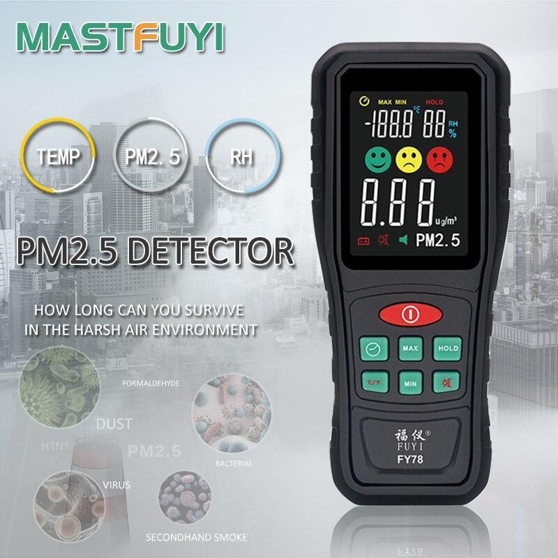 Цифровой монитор качества воздуха Mastfuyi FY78 PM2.5, цветной экран, газовый монитор, анализатор, измеритель температуры и влажности, диагностичес...