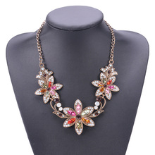 The new alloy  flower necklaces exaggerated color mix fashion women sweater necklace jewelry