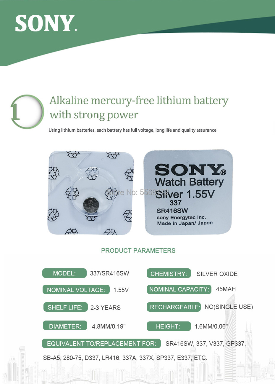 10 pcs Piles Sony 337 sr416sw prix maroc