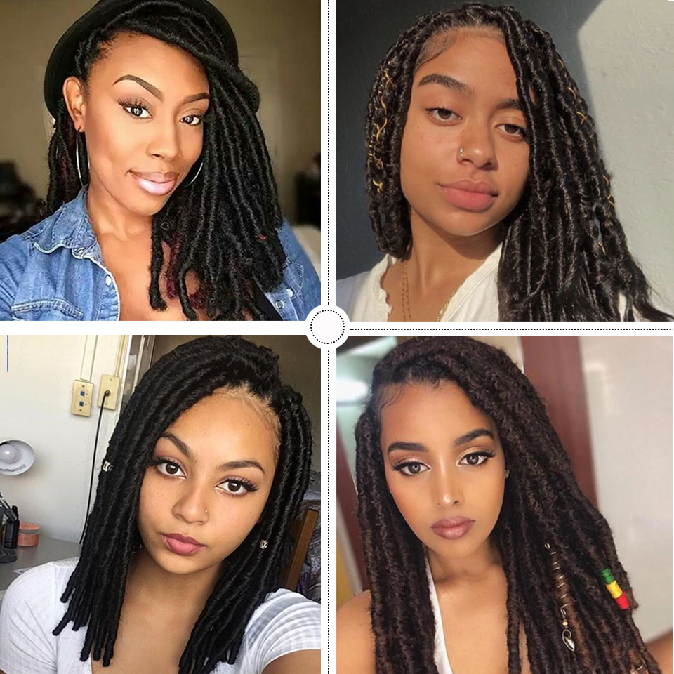 Magic Crochet Braids Twist 24 Inch Jumbo Dread Faux Locs Hairstyle Large Area Synthetic Lace Front Wig For Black Women