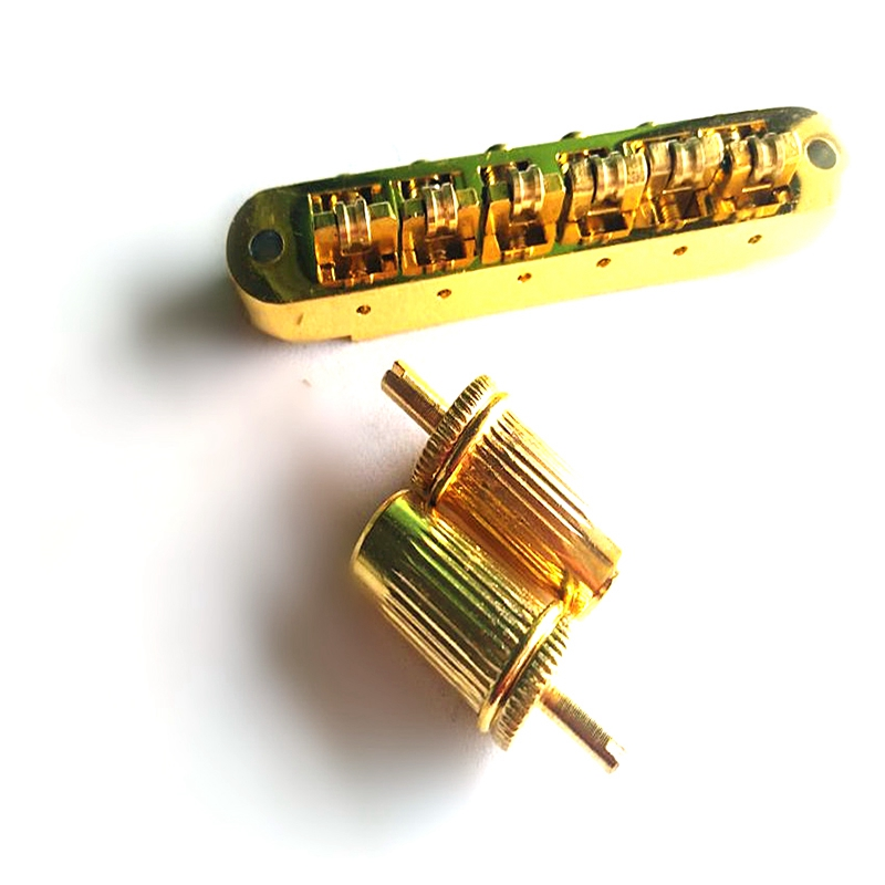 Roller Guitar Bridge Brass Roller Adjustable Saddle Tune-O-Matic Zinc Alloy And Brass Roller Bridge For LP Electric Guitar Gold